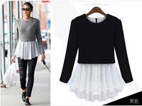 2014 spring winter fashion women brand reffle hem twinset item design t shirt tshirt top blouse for woman t-shirt plus size