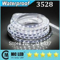 100M  3528 SMD 60Leds/M 5M/Roll Waterproof IP65 Flexible Led Strips Lights 12V High Bright DayWhite + Free Female Plug