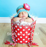 Free shipping big pink and red flower colourful striped  style baby hat handmade crochet photography props newborn baby cap