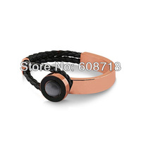 Wholesale Fashion Jewelry,Double Tour Weave Leather Bracelet,With 18K Rose Gold Plated Metal and Grey Ball.A Joyful Jewelry Gift