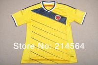 New arrival! Colombia National Team World Cup 2014 home yellow Football jerseys, Thailand quality free customized Size: S~XL