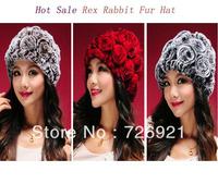 10pcs/lot New Real Knitted REX Rabbit Fur Hat Thick Wool Lining Beanie Cap Winter Women Flower Headgear Ladies Hat