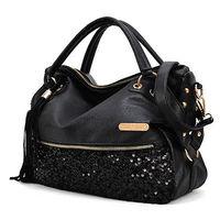 Women lady sexy zipper handbag tote cool lux punk sequin bag Shoulder Bags