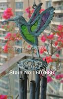 Sounding Flying Bird Copper Alloy Glass Windchimes Hanging Yard Garden Porch Indoor Outdoor Wind Chime Verdigris Finish FreeShip