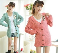 20pcs/lot fashion women Casual Womens Knitted Gridding Loose Cardigan Sweater Jumper Tops cl008