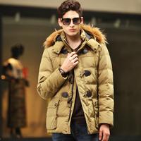Medium-long down coat male detachable cap thickening down coat