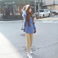Small fresh national trend geometry decorative pattern plus velvet loose long design blue sweatshirt