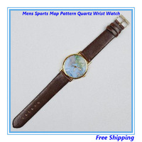 Free Shipping Mens Sports Map Pattern Quartz Wrist Watch