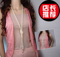 All-match pearl long design necklace multi-layer tieclasps pearl sweater chain fashion jewelry