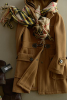 Preppy style horn button wool blending medium-long women's wool coat outerwear