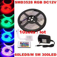 10set/lot SMD3528 300led RGB LED Strip Flexible Light 5M+IR Remote Controller +12V 2A Power Adapter Blue Green Red White