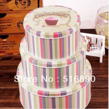 Free Shipping!3pc.set Round iron storage box Metal storage case Black forest cake box biscuit box sealed cans candy case(China (Mainland))