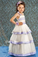 2014 Hot Sale!NEW PAGEANT FLOWER GIRL HOLIDAY DRESS 4297  IVORY-LILAC