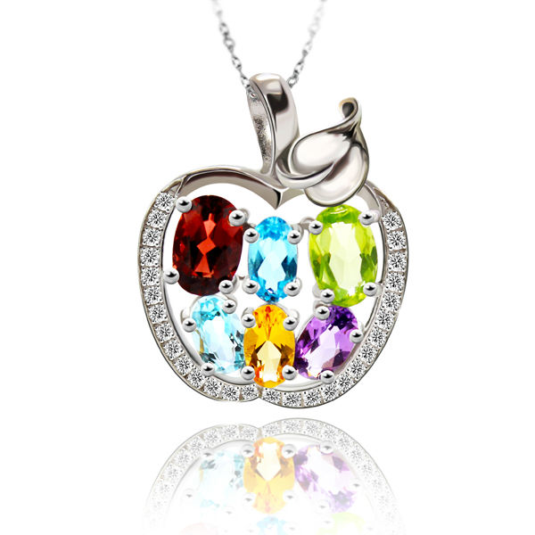 Lovely Design Cute Apple For Lady Genuine Amethyst Citrine Garnet Peridot Topaz Pendants 925 Sterling Silver Free Shipping(China (Mainland))