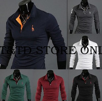 Drop shipping 2013 New Mens T Shirt +Men's long Sleeve T Shirt slim fit , shirt ,cotton,6colors ,4size