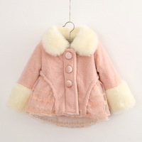 Children's clothing female winter child 2013 child thickening outerwear cotton-padded jacket faux overcoat princess wadded