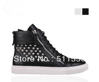 Giuseppe High Shoes Women And Men Brand GZ Sneakers Rivets Casual Shoes High-top Genuine Leather shoes
