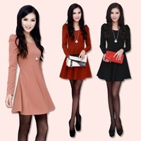 New Spring Autumn Girls' Slim Long Sleeve Dress fashion O-Neck Collar A-Line Mini Bottoming Dress Solid Cotton Cute S M L XL