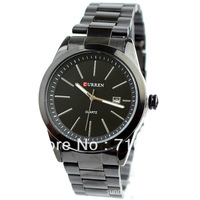 EMS 20PCS Men Business style Black Stainless steel wrist watch, Simple fashion men Quartz wrist watch