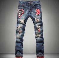 Free shipping Men's slim jeans trousers personalized applique hole beggar pants / 28-36