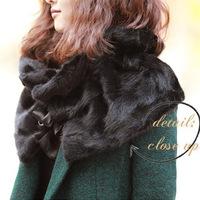 Free Shipping Fur Scarf High Quality mink collar wool oversized shawl collar fur scarves fur collar black