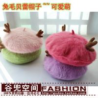 2013 handmade rabbit fur hat rabbit fur beret staghorns painter cap autumn and winter hat female