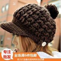 Hat cap button knitted hat female autumn and winter all-match baseball cap flat women's shopping black