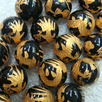 NEW! 14mm Lucky Handmade Carved tibetan black Dragon Round Loose Beads for Bracelet making 26pcs/lot  Free Shipping