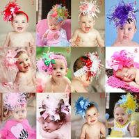 Free ePacket shipping Girl hair bows baby feather Headbands + clips + headband Christmas kids Hair Band Hair Accessories