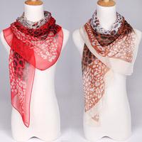 Retail! 2013 Newest style fashion leopard printed lady's silk like chiffon georgette scarf/shawl! JZ007