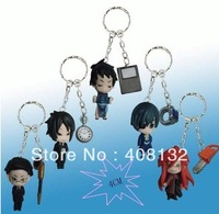 Japan Anime Mini Black Butler Kuroshitsuji Action keychain Figure 5 Pcs