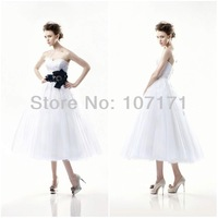 New Fashion Detachable Belt Applique Tulle Tea Length Wedding Dress
