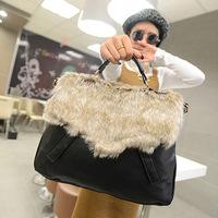 Free Shipping Rabit Fur Shoulder Bag , women PU Message Bag , Fashion Handbags Fur Totes