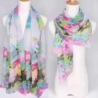 Retail! 2013 Newest style fashion flowers printed lady's silk like chiffon georgette scarf/shawl! JZ006