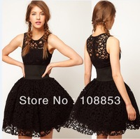 Fashion Sleeveless Summer Dress Women's Hollow Out Wide Belt Waist Full Lace Dress Tank Ball Gown One Piece Dress Black CMC-0407