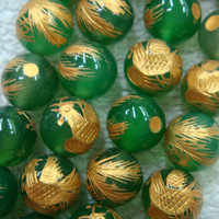 NEW! 10mm Lucky Handmade Carved tibetan Green Phoenix Round Loose Beads for Bracelet making 38pcs/lot  Free Shipping