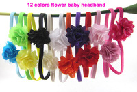 Free Shipping 24pcs/lot Infant toddler baby girls Mesh Tulle flowers with hair Thin Skinny elastic headband 12 Colors
