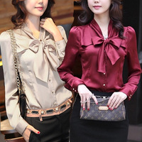 2013 autumn work wear plus size clothing women's shirt slim bow long-sleeve chiffon shirt