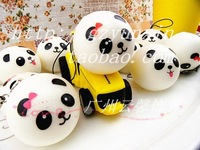 100pcs/lots 4cm mini panda Pu artificial bread/ soft bread pendant bags pendant gift squishy