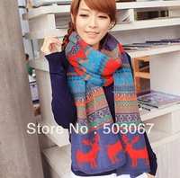 Free shipping 2014 new Korea thick winter miss scarves Long-sided snowflake korean wool deer scarves