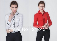 2014 hot Spring  new European and American fashion puff sleeve one-piece shirt Slim OL/women top blouse piece shirts S-XL