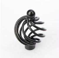 "Black Iron Bird Cases Style Cabinet Wardrobe Drawer Pulls Ceramic Handles 40MM 1.57"" MBS030-5"