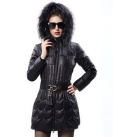 2013 Women's winter jacket with duck down coat fur women parkas jackets winter winter fashion luxury raccoon fur thickening slim