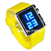 NEW LED Digital Watch With Rubber Watchband Blue Light (Yellow)