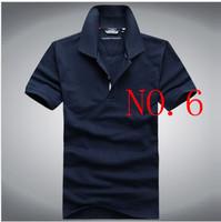 Purchasing solid summer short-sleeved t-shirt men shirt lapel loose version