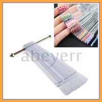 Free shipping+ 5pack/lot 50 Pcs False Nail Art Tips Sticks Polish Display Practice Tool Fan Board Clear
