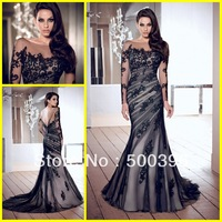 Modest Long Sleeves Open Back Black Mermaid Evening Dresses Formal Prom Gowns  2014 New Arrival Vestidos Formales De Fiesta