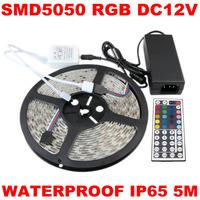 Wholesale ! SMD 5M 60led/m RGB Waterproof 5050 led Strip Flexible light+44key IR Remote+12V 6A Transformer 50sets/lot