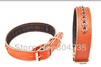 Wholesale 2PCS/lot yellow size S/M/L/XL genuine leather pet collar,dog collar,cat collar, free shipping!