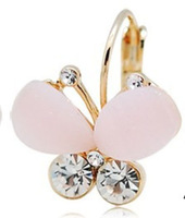 Min order is $10II New Arrival Fashion Style  Cute Butterfly Shape with different Main Stone colors Free Shipping